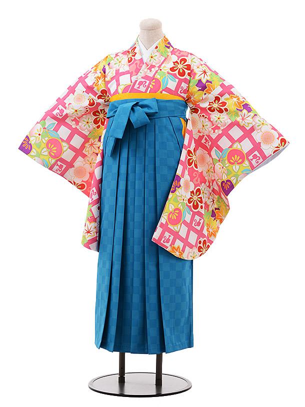 小学生卒業袴(女児)9925 Barbie 白 ピンク格子×ターコイズ袴