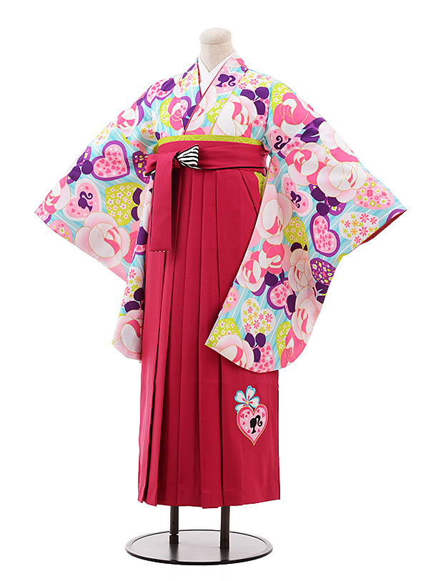 小学生卒業袴(女児)9926 Barbie 水色 バラ×ピンク袴