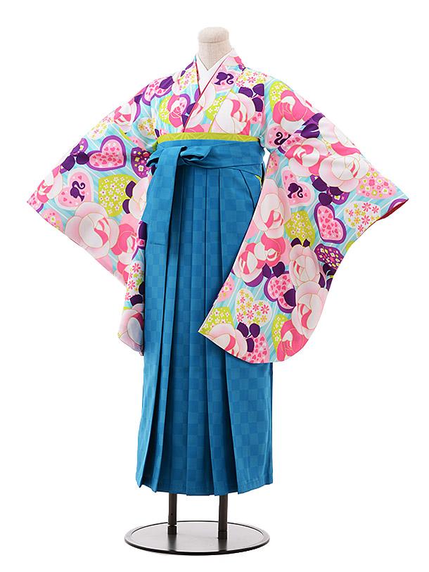 小学生卒業袴(女児)9928 Barbie 水色 バラ×ターコイズ袴