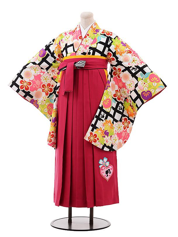 小学生卒業袴(女児)9929 Barbie 白黒 格子×ピンク袴