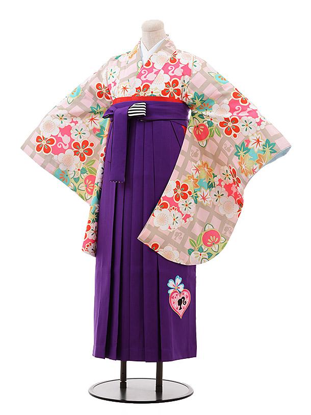 小学生卒業袴女児9933 Barbie グレー ピンク 格子×パープル袴