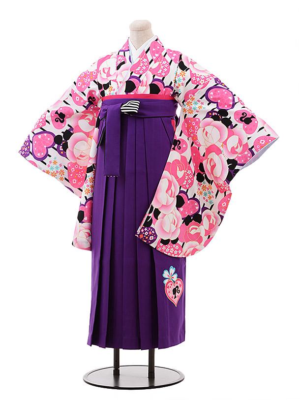 小学生卒業袴(女児)9935 Barbie 白地 バラ×パープル袴