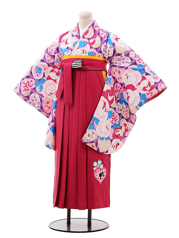小学生卒業袴(女児)9937 Barbie パープル バラ×ピンク袴