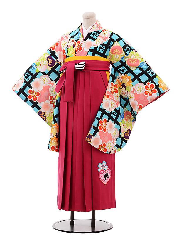 小学生卒業袴(女児)9939 Barbie 黒 水色 格子×ピンク袴
