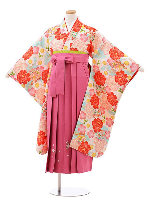 小学生卒業袴(女児)9941 小町kids クリーム地 ぼたん×刺繍ピンク袴