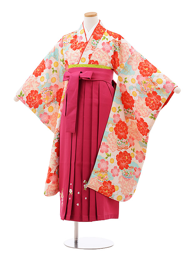 小学生卒業袴(女児)9942 小町kids クリーム地 ぼたん×刺繍濃ピンク袴