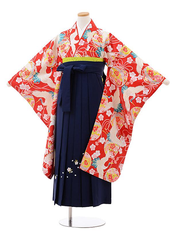 小学生卒業袴(女児)9946 赤地 鶴×紺袴