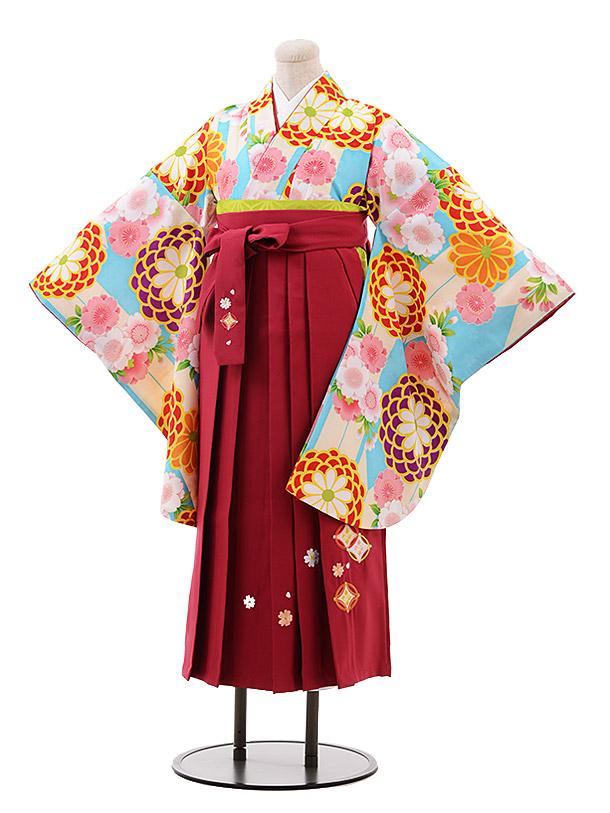 小学生卒業袴(女児)9947水色 花×ローズ袴