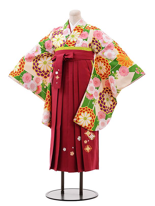 小学生卒業袴(女児)9948 グリーン 花×ローズ袴