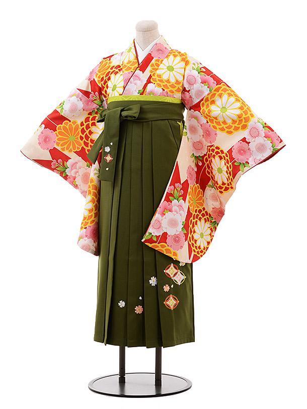 小学生卒業袴(女児)9949 赤地 花×抹茶袴