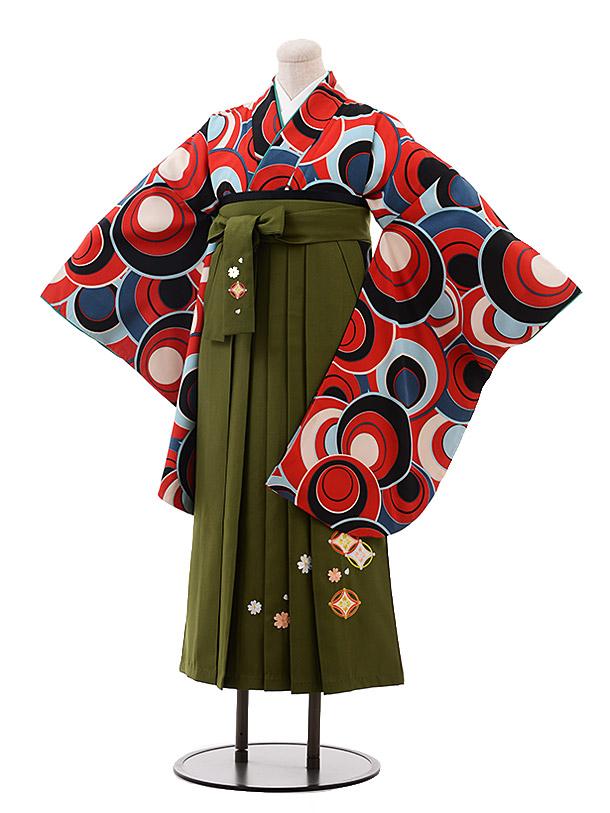 小学生卒業袴(女児)9966 赤地 変わり丸柄×抹茶袴