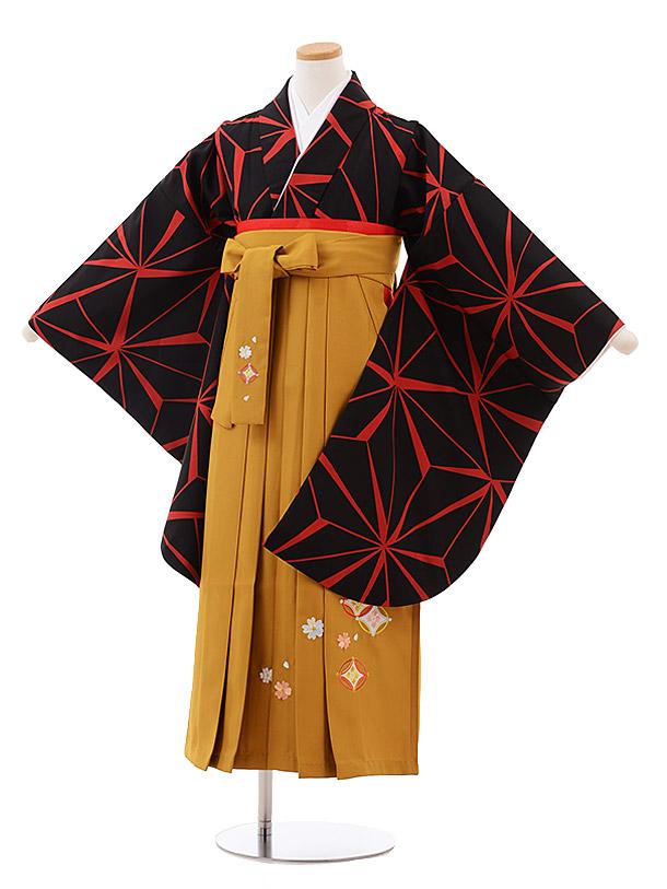 小学生卒業袴(女児)9982 黒赤麻の葉×金茶袴