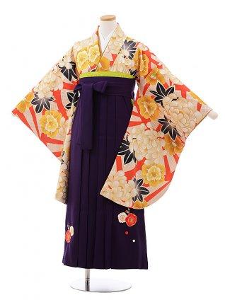 小学生 卒業式 袴 女の子 9989 オレンジ地 ぼたん×パープル袴