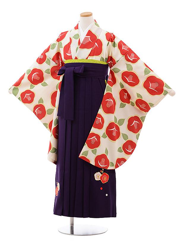 小学生卒業袴(女児)9990 クリーム地 椿×パープル袴