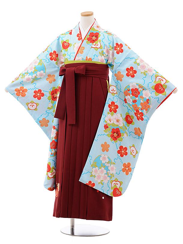 小学生卒業袴(女児)9999 水色地 梅 桜×エンジ袴
