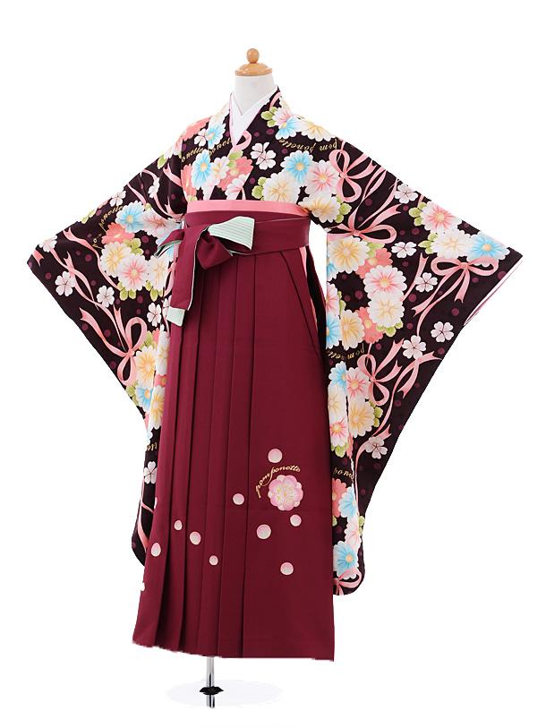 小学生卒業式袴女児A008 ポンポネット茶×エンジ袴