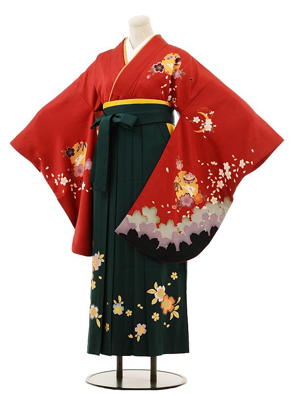 小学生卒業式袴女児B083赤雪輪にうさぎ×グリーン袴
