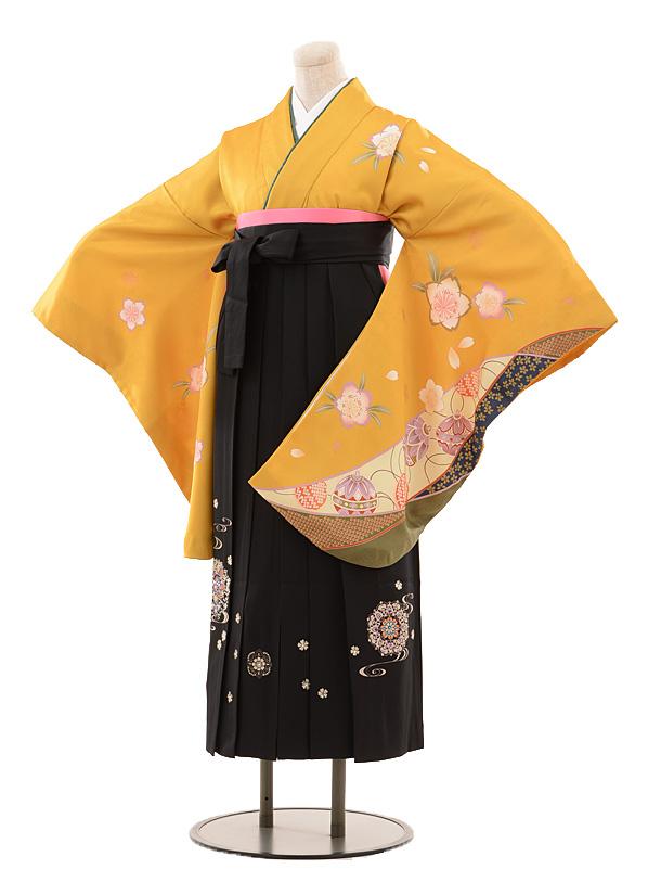 小学生卒業式袴女児B089からし桜とまり×黒袴