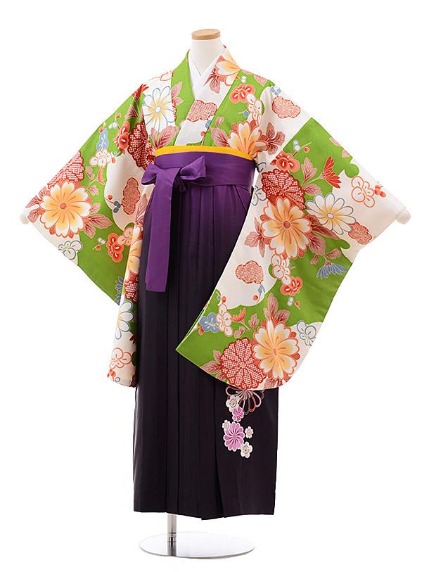 小学生卒業袴(女児)J006 グリーン 雲取 花×パープルぼかし袴