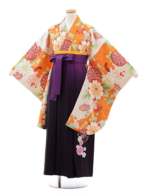 小学生卒業袴(女児)J007 オレンジ 雲取 花×パープルぼかし袴