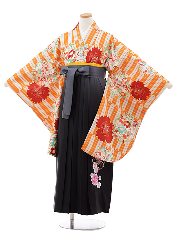 小学生卒業袴(女児)J012 オレンジ 矢柄 花×グレーぼかし袴