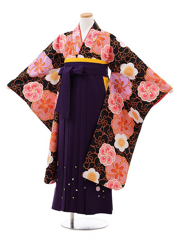 小学生卒業袴(女児)Z015 黒地 梅×パープル袴