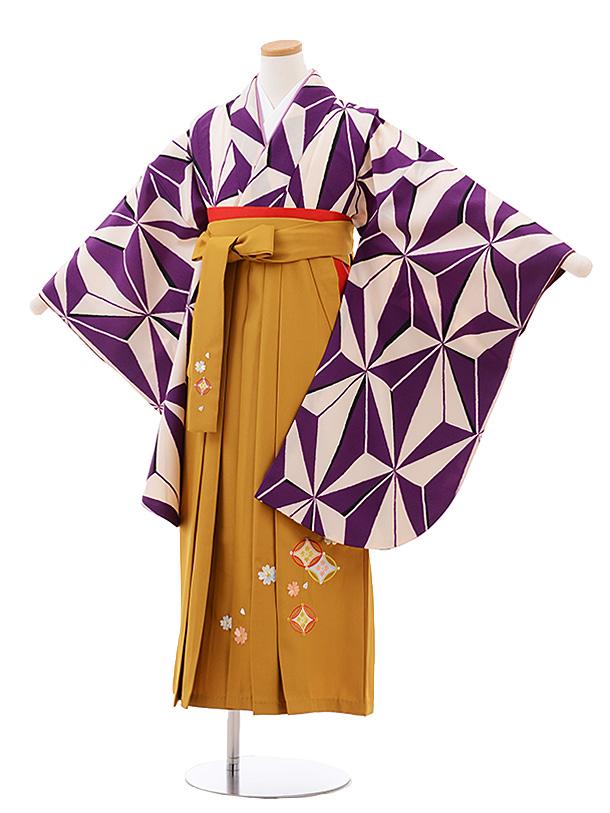 小学生卒業式袴レンタル(女の子) Z042パープル麻の葉×からし色袴