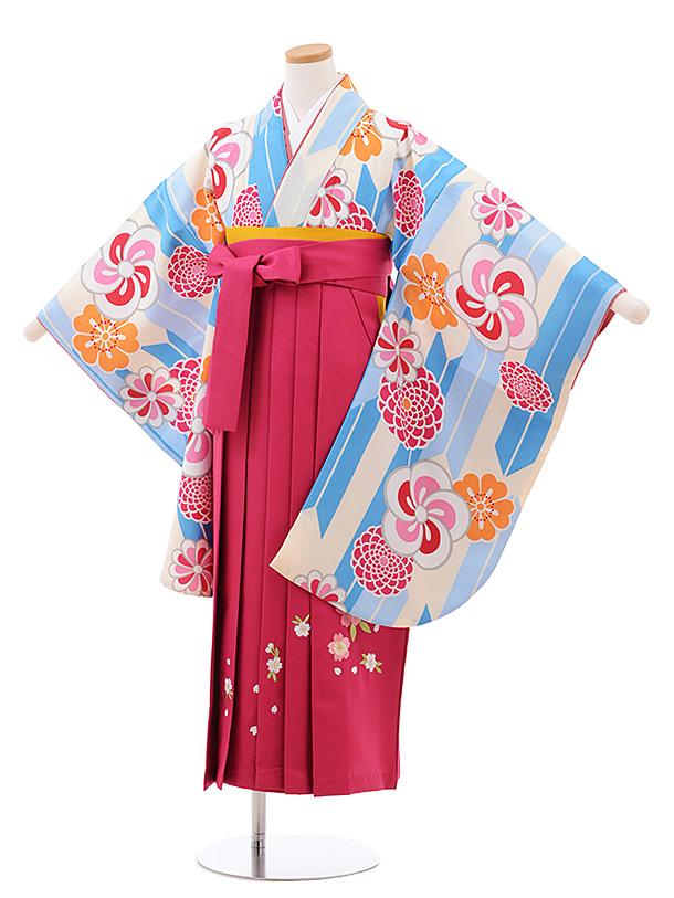 小学生卒業式袴レンタル(女の子) Z045クリーム地矢柄花×ピンク袴
