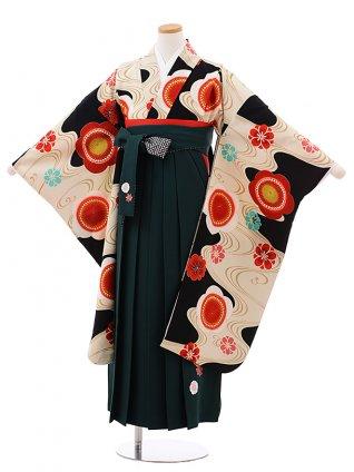 小学生卒業式袴女児 Z061ちはやふる×JAPANSTYLE 黒梅×グリーン袴