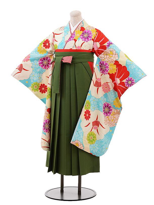 小学生卒業袴(女児)Z062JAPANSTYLE水色に椿×抹茶袴