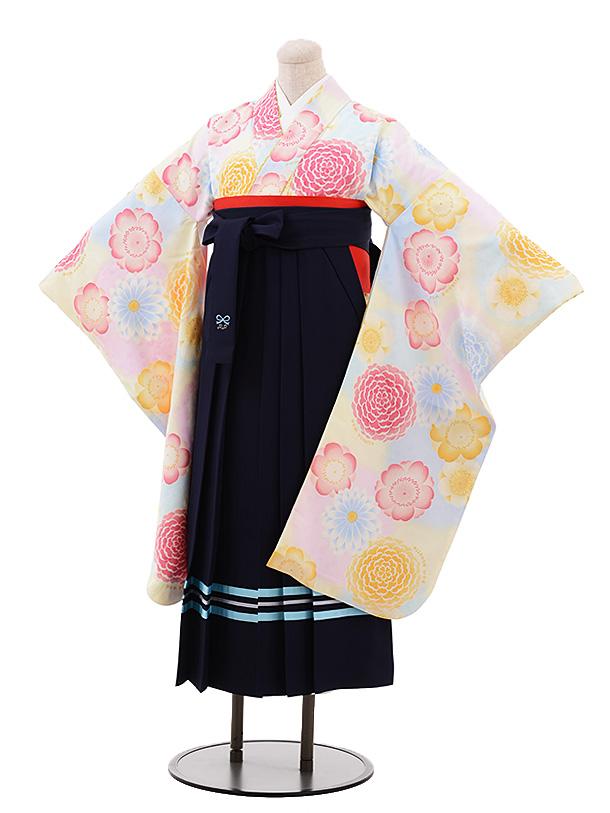 小学生卒業袴(女児)Z063 ポンポネット 水色花×紺袴