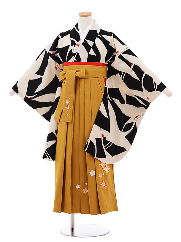 小学生卒業式袴女児 Z067 黒地 鶴×からし色袴