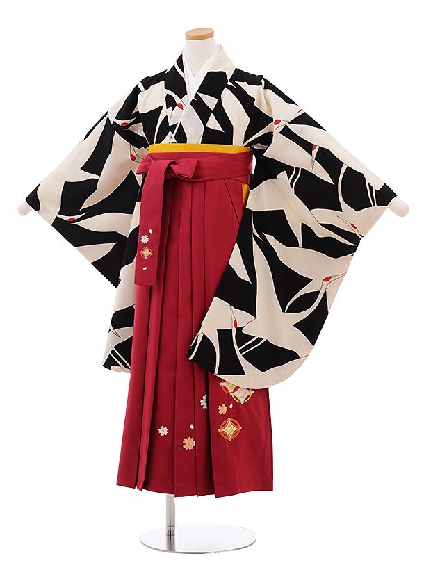 小学生卒業式袴女児 Z068 黒地 鶴×ローズ袴