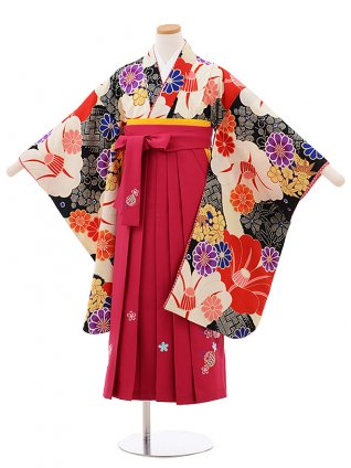 小学生卒業式袴女児 Z069 JAPANSTYLE クリーム地 椿×ローズ袴