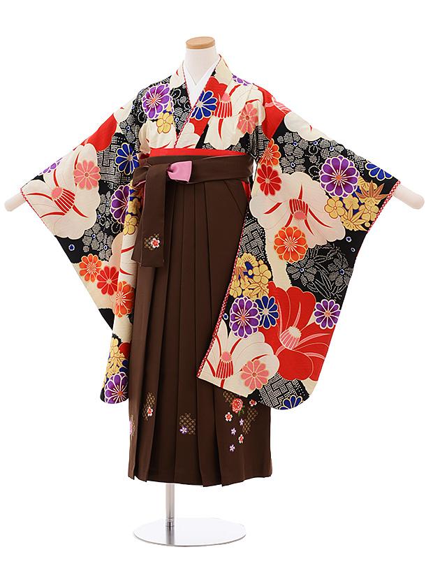 小学生卒業式袴女児 Z070 JAPANSTYLE クリーム地 椿×茶色袴