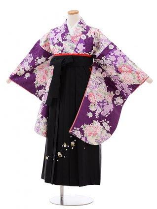 小学生卒業式袴レンタル(女の子) Z075 パープル地 梅 ぼたん×黒袴