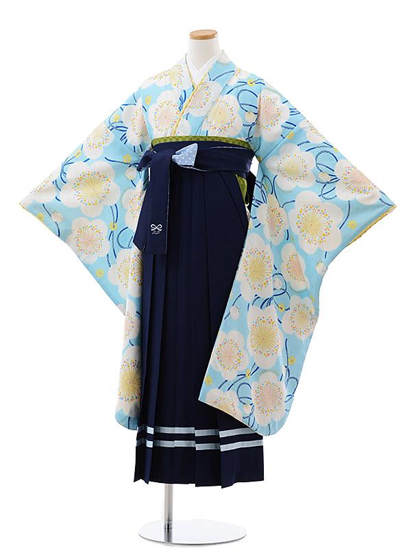 小学生卒業式袴レンタル(女の子) Z089 ポンポネット 水色 梅x紺袴