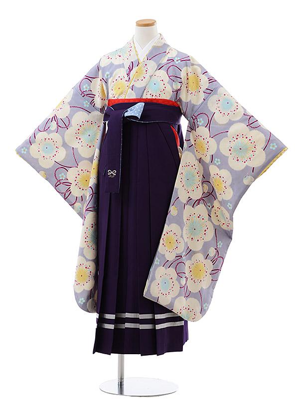 小学生卒業式袴レンタル(女の子) Z090 ポンポネット パープルグレー 梅x紫袴