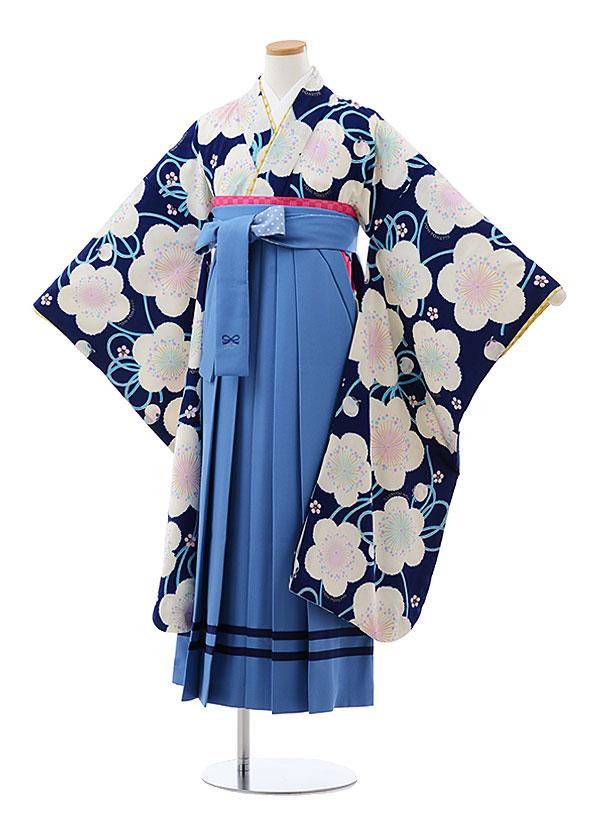 小学生卒業式袴レンタル(女の子) Z092 ポンポネット 紺地 梅xブルー袴