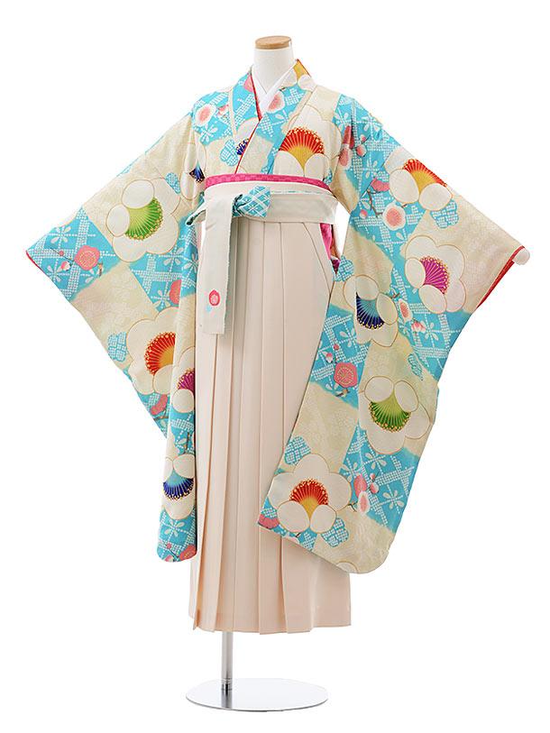 小学生卒業式袴レンタル(女の子) Z100 九重 水色 市松 梅xクリーム袴