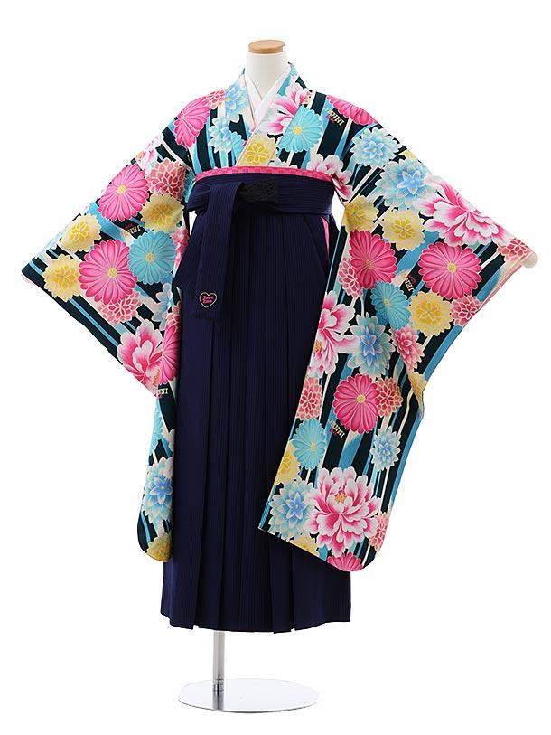 小学生卒業式袴レンタル(女の子) Z123 JENNI love 緑花x紺ストライプ袴