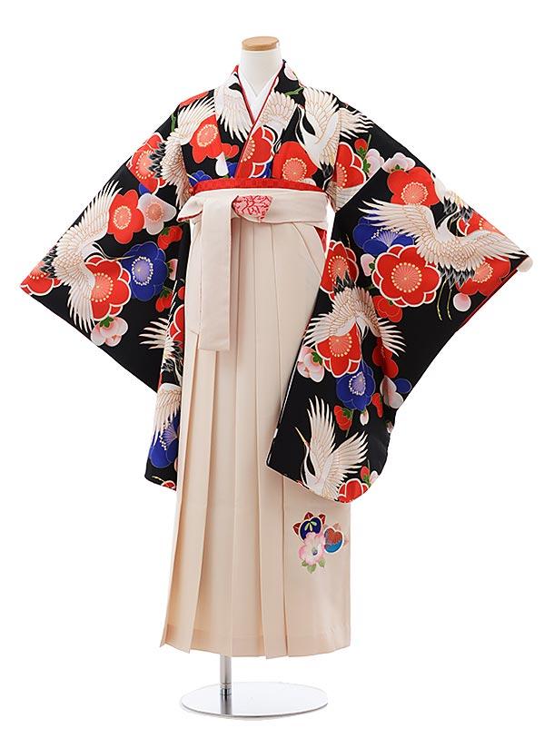 小学生卒業式袴レンタル(女の子) Z124 黒地 鶴に梅xクリーム袴