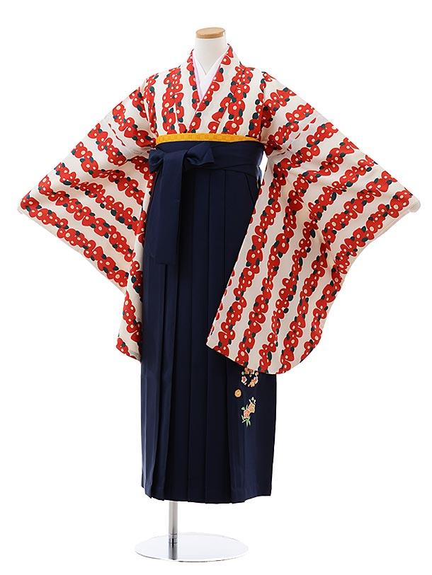 小学生卒業式袴レンタル(女の子) Z125 クリーム地 赤 椿x紺袴