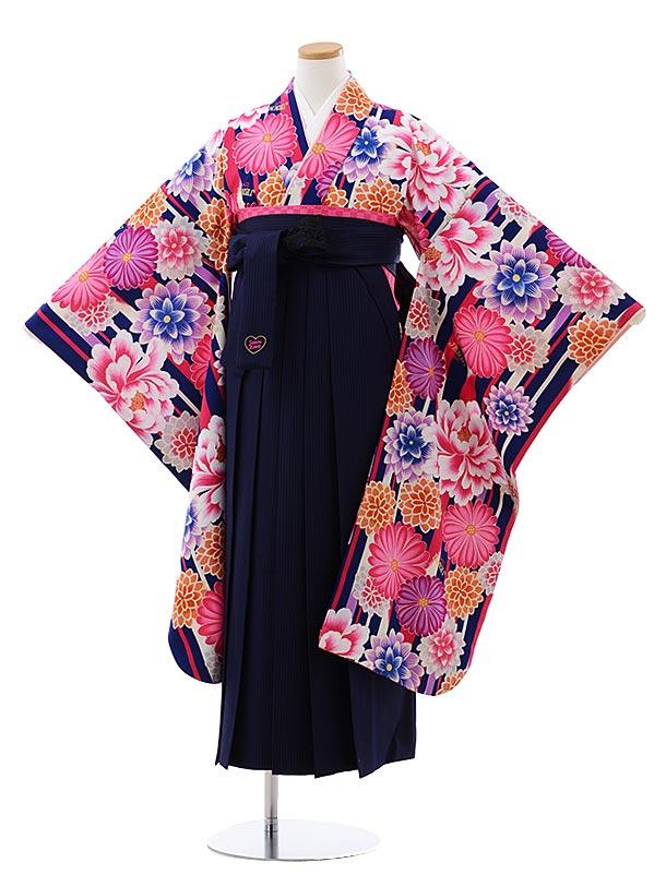 小学生卒業袴(女児)Z127 JENNI love 紺花x紺ストライプ袴