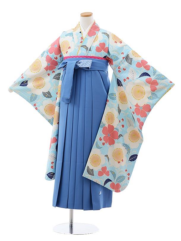 小学生卒業袴(女児)Z128 ポンポネット 水色 花xブルー袴