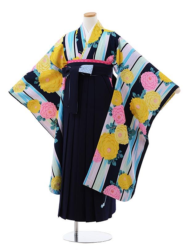 小学生卒業式袴レンタル(女の子) Z129 ポンポネット 紺 ブルー花x紺袴