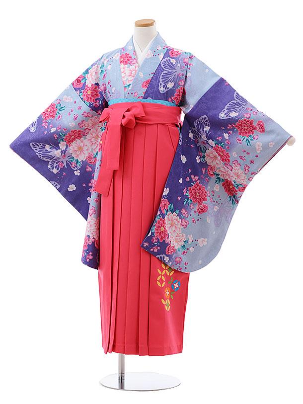 小学生卒業式袴レンタル(女の子) Z131 ブルー パープル ぼかし花xピンク袴