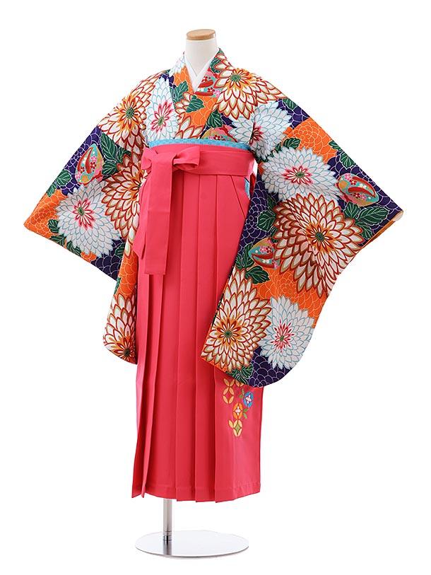 小学生卒業式袴レンタル(女の子) Z133 紺 オレンジ 菊xピンク袴