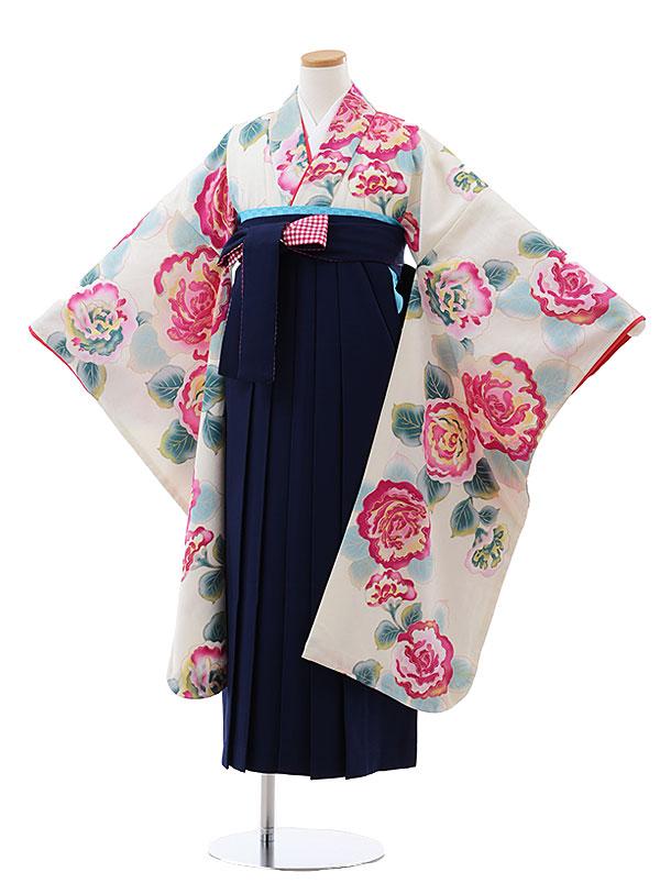 小学生卒業式袴レンタル(女の子) Z140 メゾピアノ 白地 花x紺袴