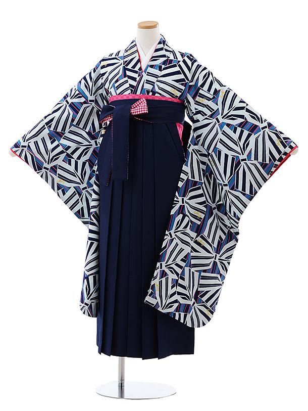 小学生卒業式袴レンタル(女の子) Z141 メゾピアノ 紺 リボンx紺袴
